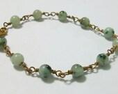 Bracelet Copper Green - Sesame Jasper and Copper bracelet - Sweet Mint