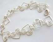 Bracelet Silver Heart Scroll Fine Silver plated