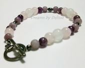 Amethyst Quartz and Hematite Toggle Bracelet - Purple Bracelet