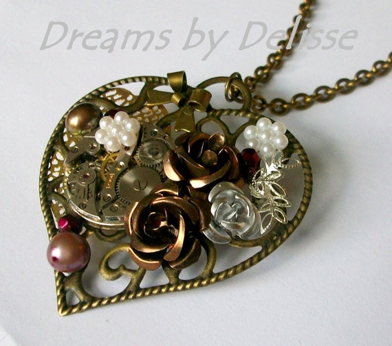 Steampunk Necklace / Brooch Convertible - When My Heart Stops