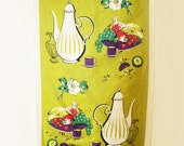 1950s jug and flower print Lamont Irish linen tea towel