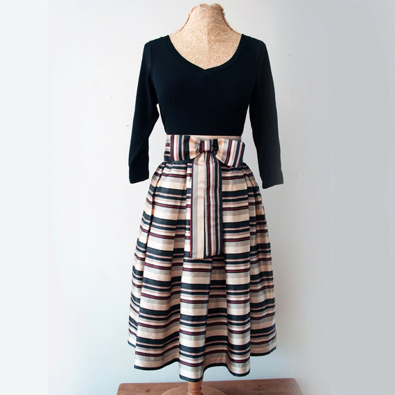 full 1950s soft pleated silk striped skirt