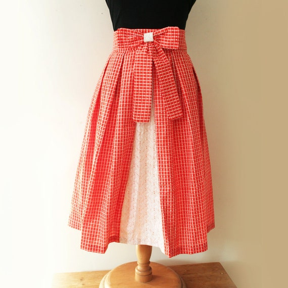 1950s seersucker and lace original fabric bow skirt