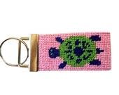 Key Fob in Preppy Turtles Needlepoint Kit, monogram option