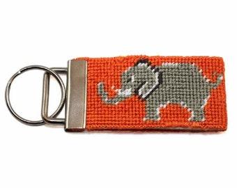 Needlepoint Kit - Elephant Key Fob - with monogram option