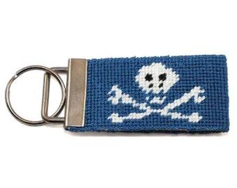 Needlepoint Kit - Key Fob in Jolly Roger - monogram option