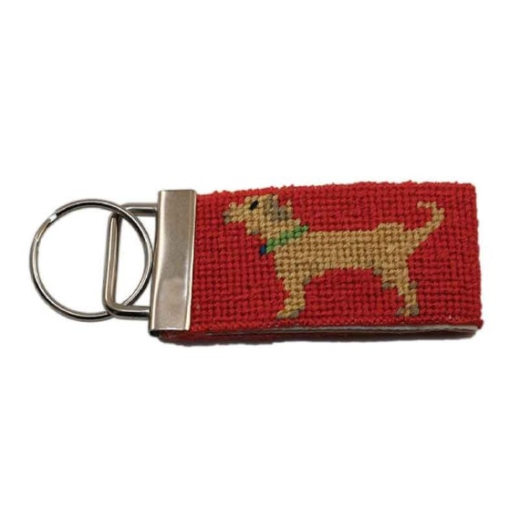 Needlepoint Kit, Key Fob in Yellow Dog, with monogram option.