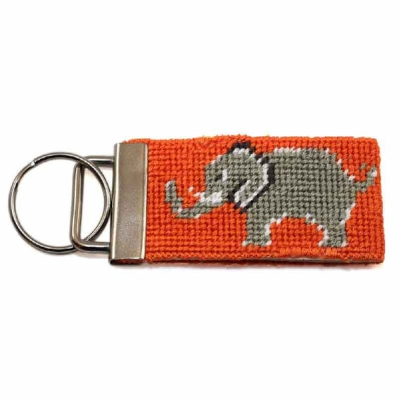 Needlepoint Kit - Elephant Key Fob - with monogram option