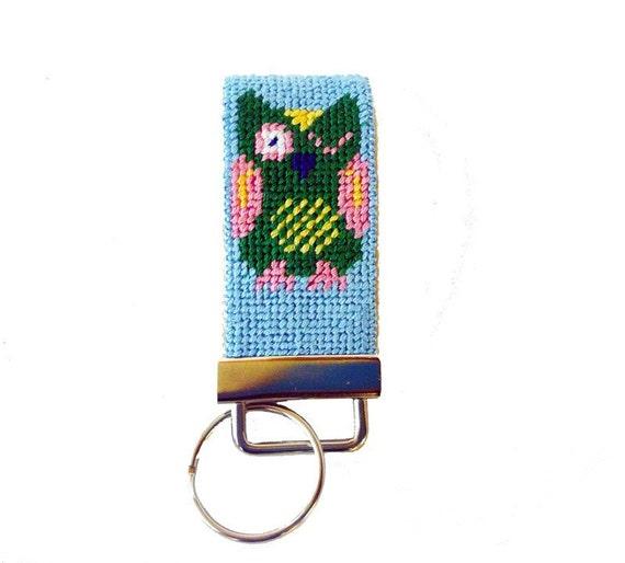 Key Fob with Owls Needlepoint Kit - monogram option