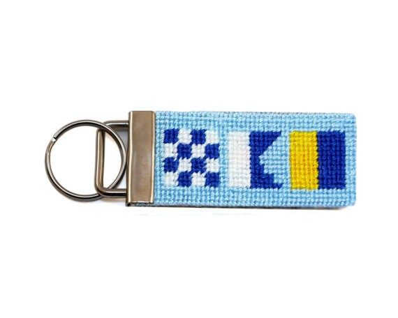 Needlepoint Kit, Nautical flags key fob, with monogram option
