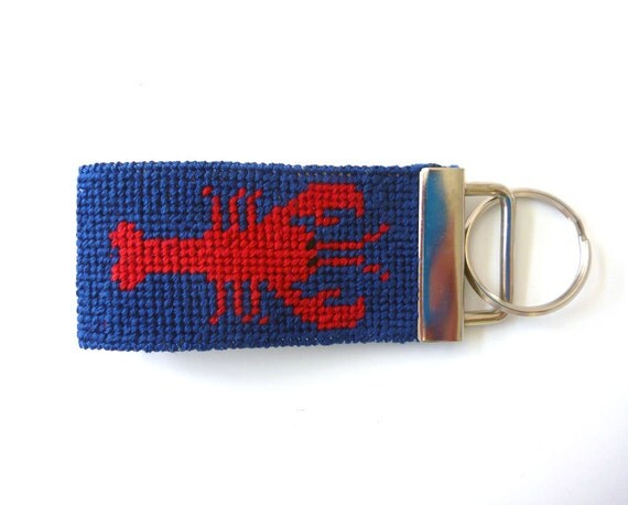 Needlepoint kit, Key Fob with Lobsters - with monogram option