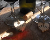 A Set Of  6 Personalized Wooden Hearts With Bride & Groom Initials Gift  Tags Favors Wine Champagne Toasting Charms