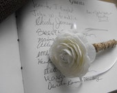 Burlap Flower Pen Guestbook Wedding Pen  Rustic Woodland Country Chic