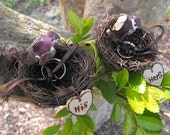 Personalized His & Hers Ring Bearer Twig Love Bird Nest Woodland Rustic Romantic Ring Pillow Alternative Cake Topper