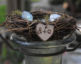 Wedding Ring Nest Woodland Rustic Ring bearer Pillow Moss Nest