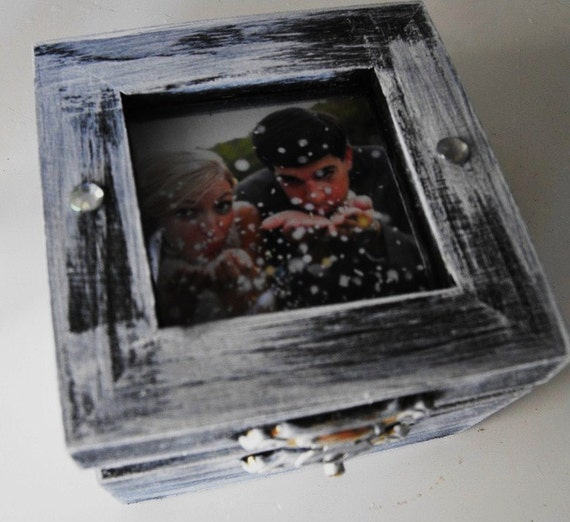 Pick Your Color Shabby Chic Distressed  Wedding Ring Box Personalized You Insert Your Photo Ring Pillow Alternative Vintage Inspired