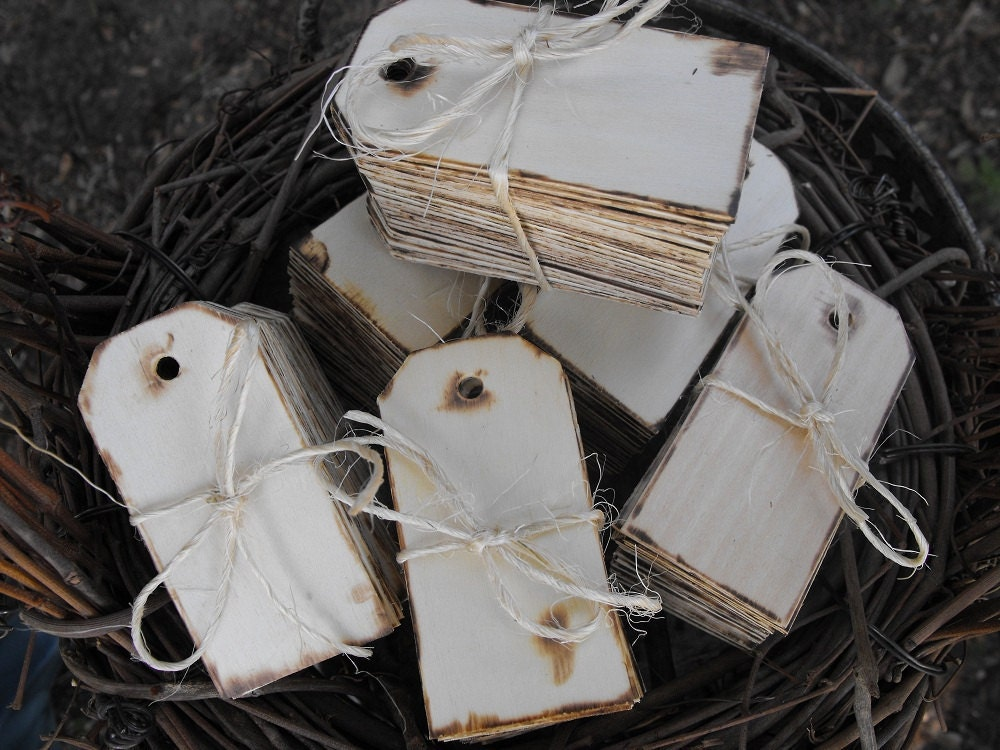 100 Wooden Gift Tags Rustic Chic Wedding Cottage by hanscreations