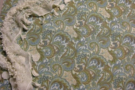 Nursing Cover Up and Matching Burp Cloth- soft blue and green paisley