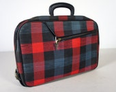 RESERVED for Sheila - Vintage Small Plaid Travel Case w/ Key