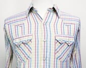 Vintage Men's Red, Yellow & Blue Striped Western Pearl Snap Shirt - Long Sleeve, Size L