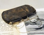 Vintage Early 1900's Wire Eyeglasses w/ Leather Bound Case