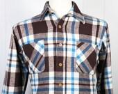 Vintage Men's Blue, Brown & White Striped Flannel Shirt - Long Sleeve, Size M