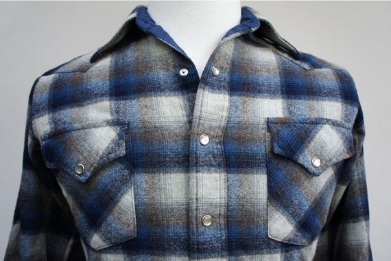 Vintage Men's Pendleton Wool Flannel Western Pearl Snap Shirt - Long Sleeve, Size S