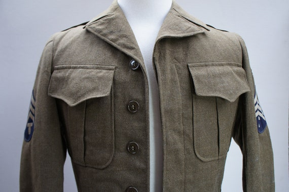 RESERVED for Diyana.  Please do not purchase unless you are her. Original Vintage 1940's World War II Eisenhower Field Jacket w/ Patches