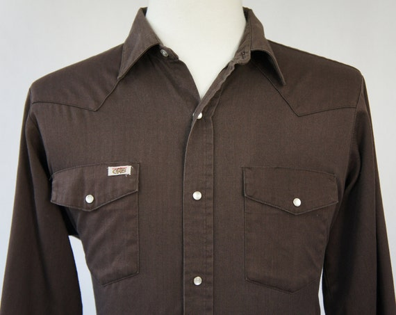 Vintage men 39 s chocolate brown western pearl snap by for Mens chocolate brown shirt