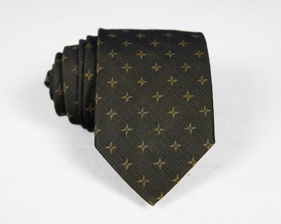 Vintage 1960's Beau Brummell Skinny Necktie - Dark Brown w/ Star Pattern