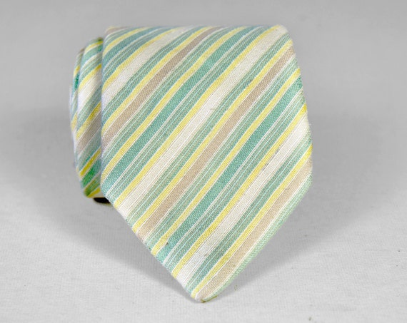Vintage 1950's/1960's Italian Striped Pastel Necktie - Mint Green, Yellow, Cream, Brown