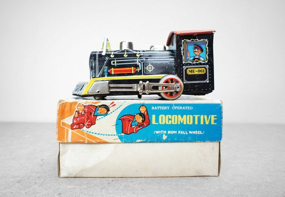 Vintage 1960's Battery Operated Tin Locomotive
