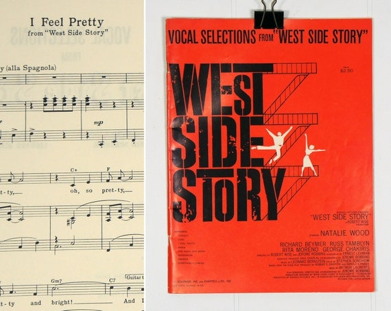 Vintage 1950's Sheet Music - Vocal Selections From West Side Story