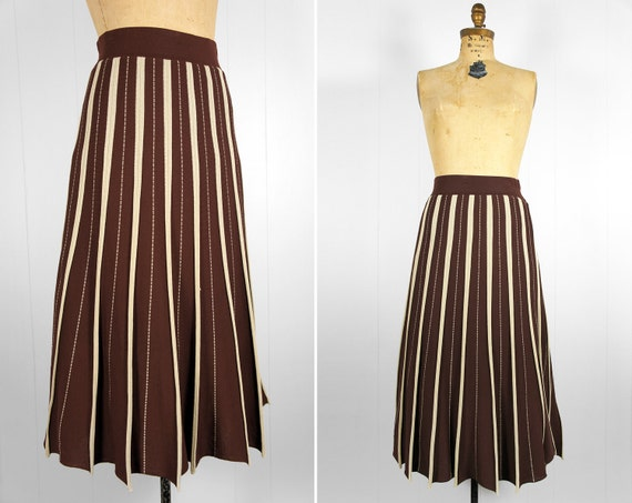 Vintage Brown & Tan Striped Pleated Skirt, Size M
