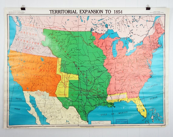 Vintage United States Classroom Wall Map - Territorial Expansion To 1854