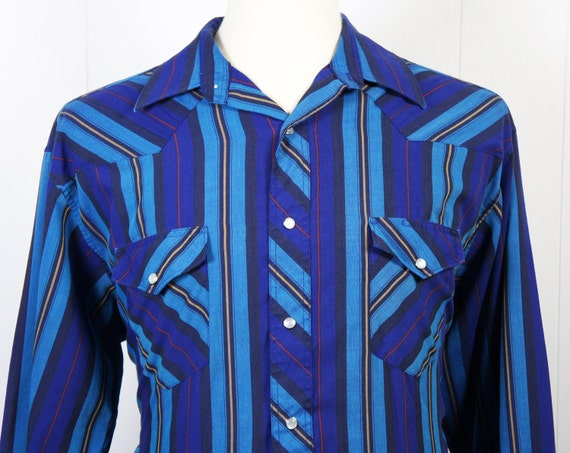 Vintage Men's Blue, Red, Black & Gold Striped Plaid Western Pearl Snap Shirt - Long Sleeve, Size L / XL