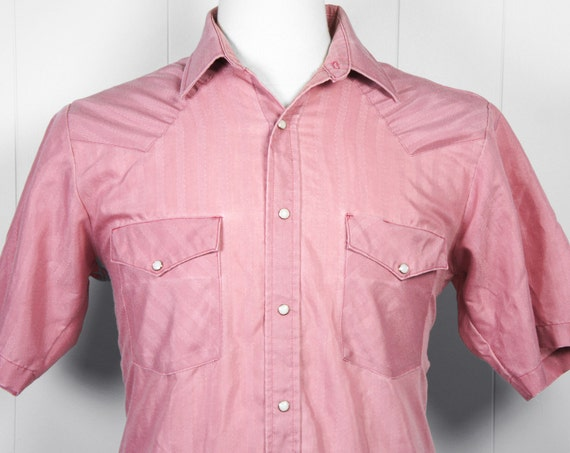 Vintage Men's Pink Western Pearl Snap Shirt - Short Sleeve, Size M