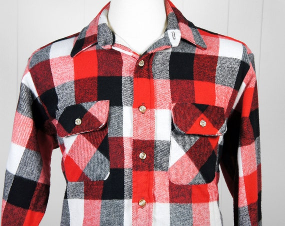 vintage men 39 s red black white checkered flannel shirt