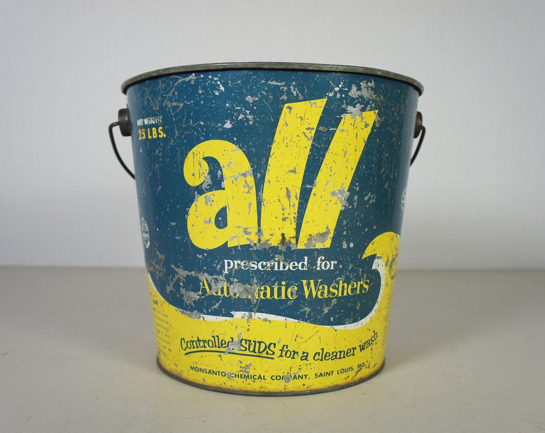 Vintage Galvanized Metal All Laundry Detergent Bucket