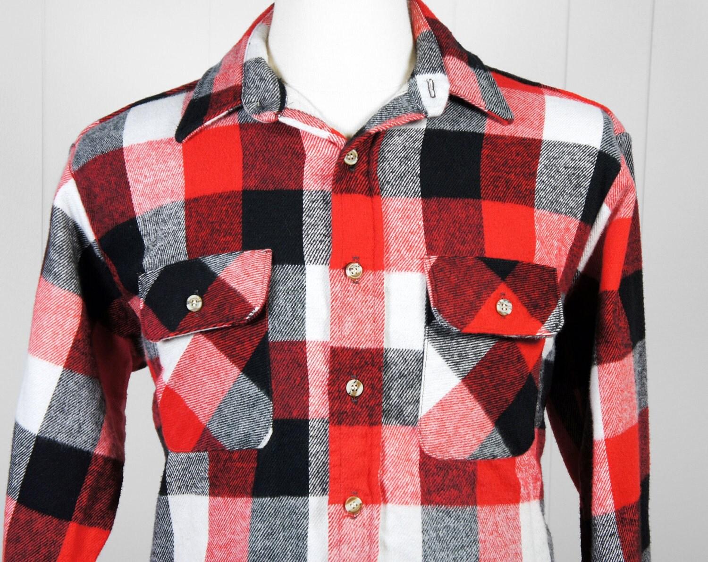 Vintage Men 39 S Red Black White Checkered Flannel Shirt