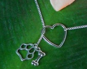 Silver Animal Lover Necklace with Heart, Paw Print, and Bone, handmade jewelry, mom, sister, girlfriend, wife, sale, christmas, birthday