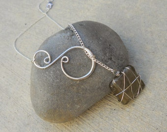 Silver Wire Wrapped Stone and Swirl Lariat Necklace - 18 Stones to choose from, handmade jewelry