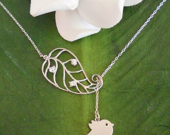 Matte Silver Baby Bird Skylark With Rhinestone Leaf Lariat Necklace, handmade jewelry