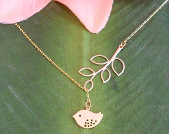 Matte Gold Baby Bird With Branch  Lariat Necklace, handmade jewelry