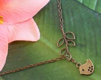 Gold Bronze Baby Bird with Branch Lariat Necklace, handmade jewelry
