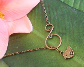 Gold Bronze Baby Bird with Scroll Lariat Necklace, handmade jewelry