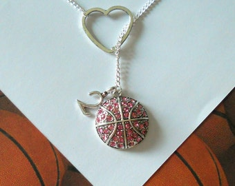 Pink Basketball Lariat Necklace with Rhinestones, Heart and Number Pendant, Handmade