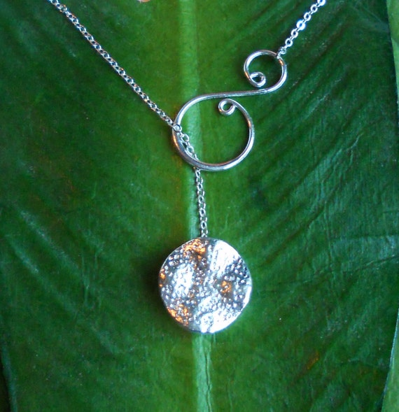 Silver Textured Disc with Swirl Lariat Necklace, handmade jewelry