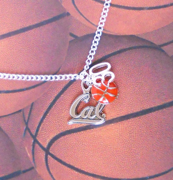 Cal Berkeley Basketball Necklace - Choose your number and sports charm