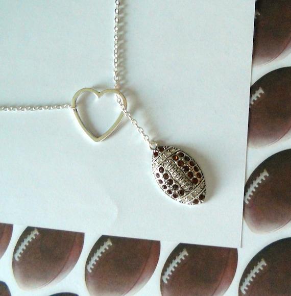Football Necklace with Rhinestones and Heart, Handmade, handmade jewelry